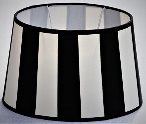 Lampenschirm, Chintz. oval, Balkenstreifen schwarz/creme Du=22 / H=14cm / Do=17cm Befestigung unten E27 (optional lieferbar Reduzierring auf E14)