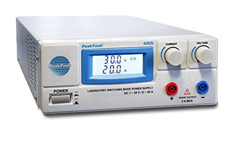 PeakTech 6155 - Fuente de Alimentación Digital C 1-30 V / 0-20A Pantalla LCD, Conmutación Confiable, Protección Contra Sobretensiones, Salida de Cc, Potencia de Salida 600 W - 214 x 87 x 336 mm
