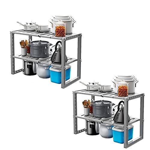 TAMRG 2 unidades escurreplatos ajustable de acero inoxidable, organizador de armario, cesta de vajilla, bandeja de goteo, rejilla de goteo para platos y cubiertos (gris)