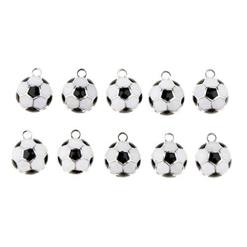 milageto 10 Stücke Fußball Form Anhänger DIY Ohrring Basteln Charms Anhänger Für Halskette Armband - 1,2 cm