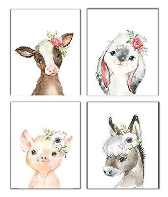 Little Baby Watercolor Farm Animals Floral Crown Prints Set of 4 (Unframed) Nursery Decor Art (8x10) (Option 1)