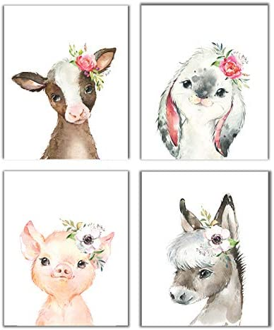 Little Baby Watercolor Farm Animals Floral Crown Prints Set of 4 Unframed Nursery Decor Art product image