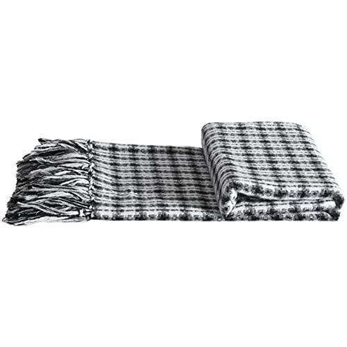 TENGTUD Manta de sofá, Manta de borlas de Mezcla de Lana Blanca y Negra Beige Suave Que se Puede Usar para Cubrir Mantas / Mantas de Aire Acondicionado / Mantas de sofá / Mantas de Cama-Los 70x235cm