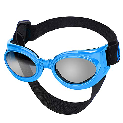 Petarty Pet Goggles Sunglasses, Dog Glasses with Strap, UV Protective Dog Goggles for Window...