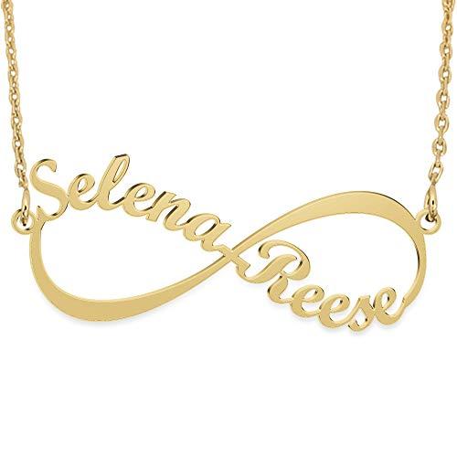 JoelleJewelryDesign Infinity - Unendlich Namenskette Sterling Silber, Personalisiert Unendlich Kette mit Ihren eigenen 2 Namen