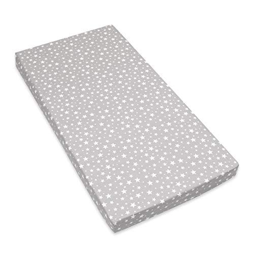 Amilian Spannbettlaken Spannbetttuch für Babybett Kinderbett 60x120 cm, 70x140 cm, 100% Baumwolle, fürs Baby, Baby Bettwäsche Größe: 120x60 cm, Muster: Sternchen KLEIN Grau
