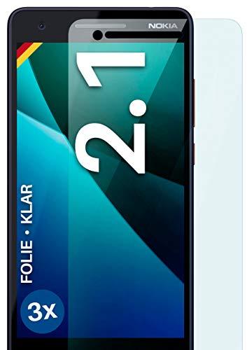 moex Klare Schutzfolie kompatibel mit Nokia 2.1 - Bildschirmfolie kristallklar, HD Bildschirmschutz, dünne Kratzfeste Folie, 3X Stück