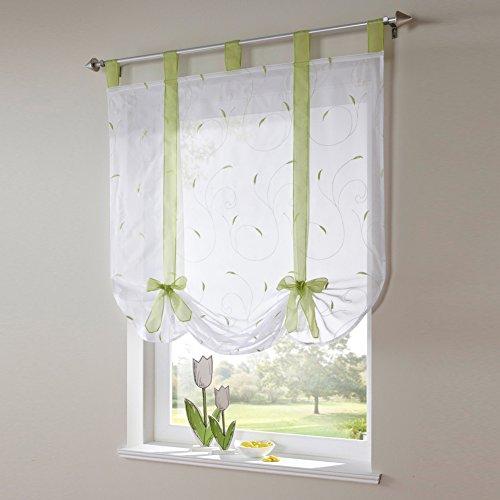 LianLe Römischer Vorhang Raffrollo Sheer liftable Organza Bestickt Küche Vorhänge Fenster Vorhang, grün, 60 * 140cm/23.6