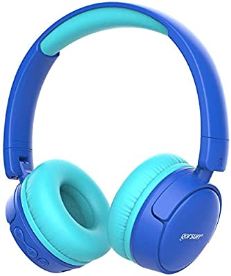 gorsun Wireless kids headphones with 85dB volume regulator, Children's Wireless Bluetooth Headphones with Microphone, Foldable bluetooth Stereo over-Ear kids headsets-blue from Er35
