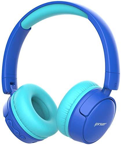gorsun Auriculares Bluetooth para niños, Auriculares Plegable para niños con 85dB Volumen Limitado, Auriculares Ajustable y Plegable con micrófono-Azul