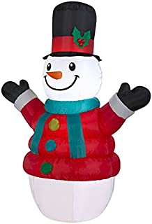 Gemmy Puffy Parka Snowman Christmas Inflatable, 7-Ft