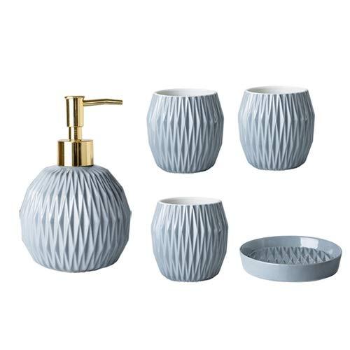 ZHQHYQHHX Ceramica a cinque pezzi Bagno Wash Set Combinazione Nordic Creative Bagno Forniture Set Mano Sapone Bottiglia Accessori Bagno Set (Colore: E blu, Dimensioni: Gratis)