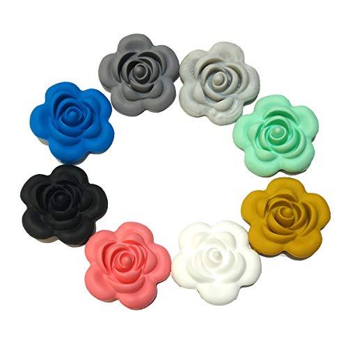16 cuentas de silicona con forma de flor de rosa y perlas de silicona para bricolaje, collar de lactancia, accesorios