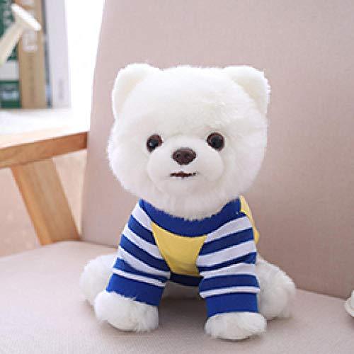 CPFYZH Niedliches Hundeplüschtier Reine weiße blau gestreifte T-Shirt mit pommerschen Welpen Kuscheltier Haustier Spielzeug 25 cm Kids Gift-25Cm_Pomeranian