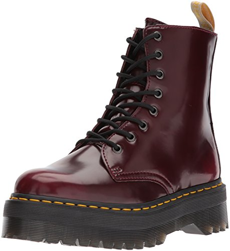 Dr Martens Unisex Jadon Vegan Quad Cambridge Brush Boots, Cherry red, 4 Medium UK / Men's 5 US / Women's 6 US