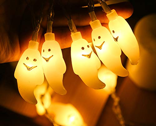 Halloween Dekoration Lichterkette, Seglory 3M 20 LED Geist Deko Halloween Lichter Schnur Außen Innen Batteriebetrieben, Halloween Weihnachten Party Accessoires für Garten Zimmer Fenster - Warmweiß