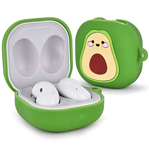QINGQING Silicone Case Compatible with Samsung Galaxy Buds Live (2020)/Galaxy Buds Pro (2021), Cartoon Fruit Skin Kawaii Funny Keychain Design Cover Galaxy Buds Live Cases for Girls Boys (Avocado)