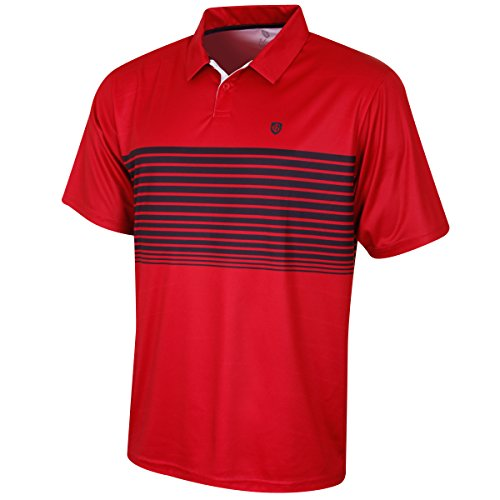 Island Green Golf IGTS1774 Mens Striped Sublimated Design CoolPass Breathable Wicking Polo Shirt Sports Top Deep RedBlack M