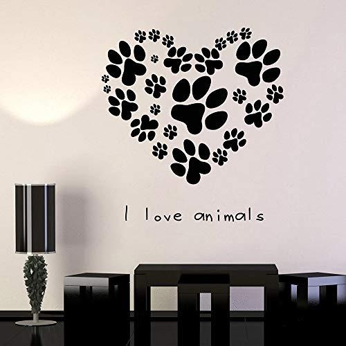 Hundepfote drucken Wandaufkleber Wohnzimmer Haustier Tierklinik Vinyl Wanddekoration Aufkleber Tierhandlung 74x79cm