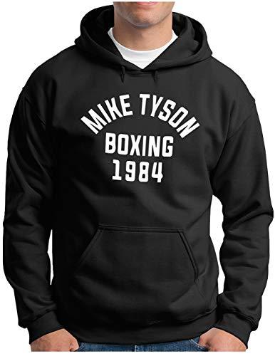 OM3® Mike Tyson 1984 Hoodie | Herren | Boxing Heavyweight Gym KO Fight Legend Boxer | Kapuzen-Pullover Schwarz, XXL