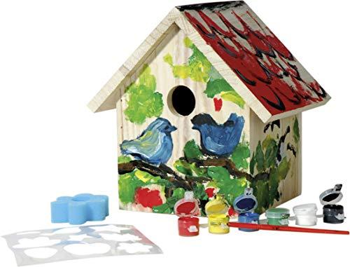 Dobar Nistkasten zum Bemalen aus Holz mit Pinsel, Schwamm, Schablone & Farben