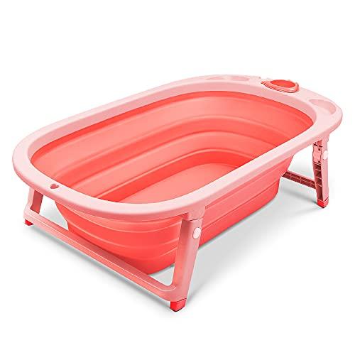wuuhoo® I Ergonomische Baby-Badewanne Nemo Faltbar und Klappbar I für Neugeborene Babys und Kleinkinder I mit Ablauf-Stöpsel zum Wasser ablassen I rot