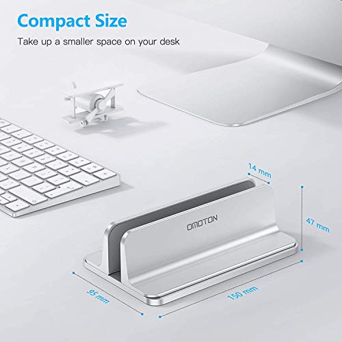 Vertical Laptop Stand Holder, OMOTON Desktop Aluminum MacBook Stand with Adjustable Dock Size, Fits All MacBook, Surface, Chromebook and Gaming Laptops (Up to 17.3 inches), Silver Photo #2