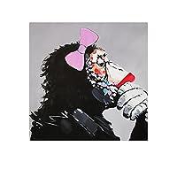 ルームのインテリアは、少年のベッドルームパーソナリティオランウータンのポスター漫画の動物モンキー北欧の落書きの壁のアートピクチャー95x95cm絵画 Dを