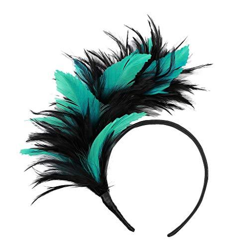 Julhold Haarband Haarschmuck Stirnbänder Tiara Stirnband Damen Feder Mesh-Blumen Retro-stil Partydekoration 20er Jahre Feder Haarreif Kostüm Haarband Festival Zubehör(Grün)