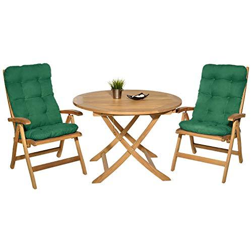 Pack 2 Cojines con Respaldo para Sillas de terraza. Conjunto de 2 Cojines para sillones de Interior y Exterior. Cojín para Silla con Respaldo, Cojines Acolchados, terraza. (Verde)