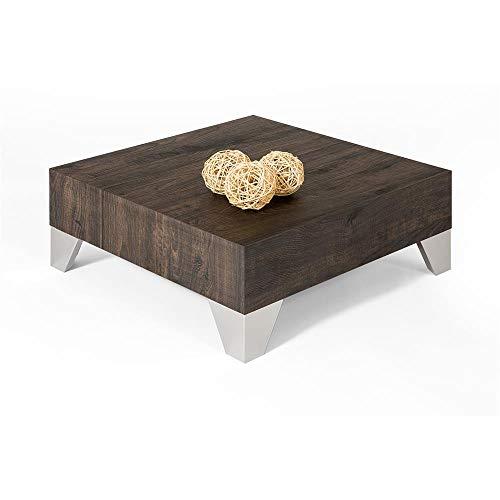 Mobili Fiver, Tavolino da Salotto, Evolution 60, Rovere Scuro, 60 x 60 x 24 cm, Nobilitato/Acciaio Inox Satinato, Made in Italy, Disponibile in Vari Colori