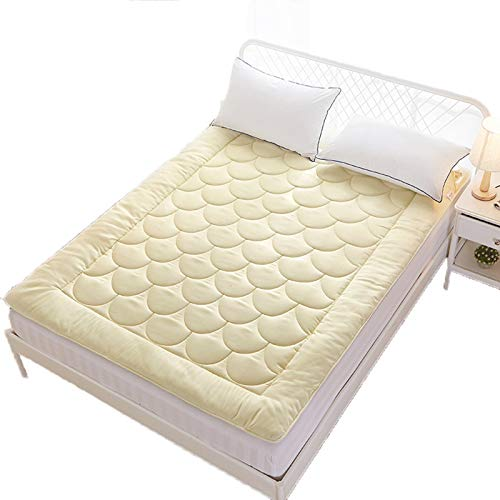 Japanese Floor Futon Mattress, Student Dormitory Single Adult Mattresses Thicken Tatami Roll Mat Foldable Pad for Bedroom Living Room 90X200cm,Beige