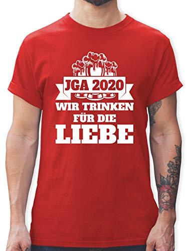 JGA Junggesellenabschied Männer - JGA 2020 - Wir Trinken für die Liebe - L - Rot - junggesellenabschied Tshirt - L190 - Tshirt Herren und Männer T-Shirts