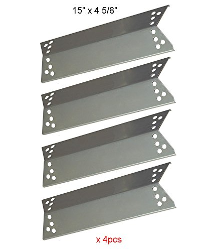 BBQ funland SH0681(4-Pack) Stainless Steel Heat Shield Heat Plate, Heat Tent, Burner Cover, Flavorizer Bar for Charbroil, Nexgrill, K-Mart, Kenmore Sears, Tera Gear Model Grills