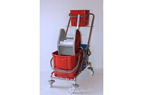 CleanSV® Reinigungswagen Putzwagen chrom mit Deichselwanne mit 1 Eimer a 6 Liter, 2 Eimer (rot und blau) mit Moppresse