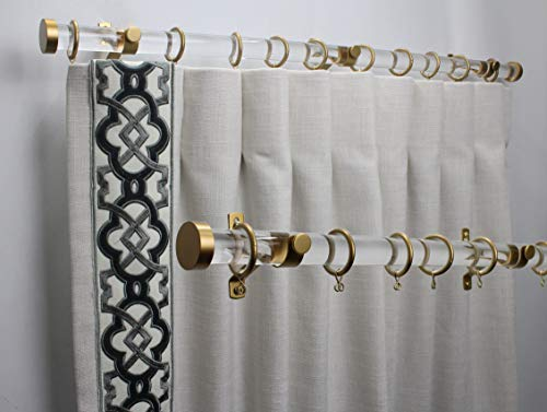 Fabrics and Drapes Acrylic Lucite Drapery Hardware Set - Free Priority Shipping - Includes 4 foot rod, brackets, end caps and rings - Gold iron - 1 Inch round curtain rod- style #3947
