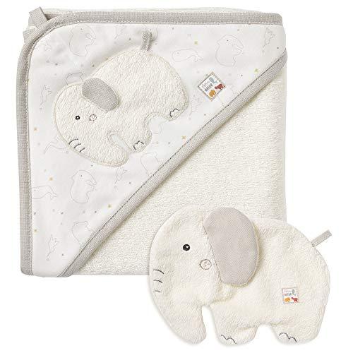 Fehn 056396 Bade-Set Elefant fehnNATUR – Bade-Set Handtuch & Waschlappen aus zertifizierter Bio-Baumwolle (kbA) mit Tiermotiv für fröhlichen Badespaß – für Babys und Kleinkinder ab 0+ Monaten