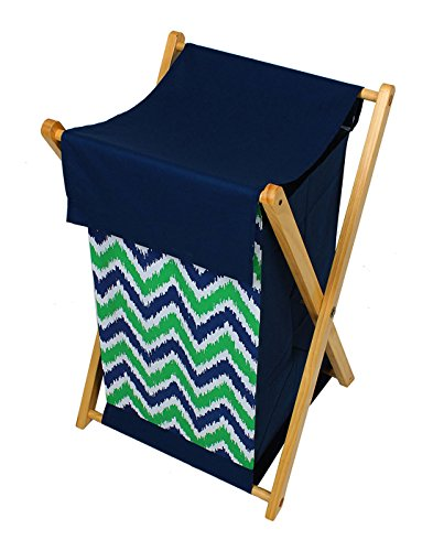 Bacati Navy Blue Green Zigzag Cotton Hamper with Wooden Stand