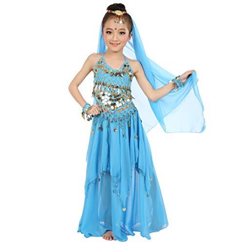 Magogo Mädchen Bauchtanz Kostüm Karneval Party Kostüm, Kinder Glänzende Dancewear Cosplay Arabische Prinzessin Outfit (L, Hellblau)