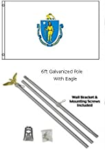 ALBATROS 2 ft x 3 ft 2x3 State of Massachusetts Flag Galvanized Pole Kit Eagle Top for Home and Parades, Official Party, All Weather Indoors Outdoors