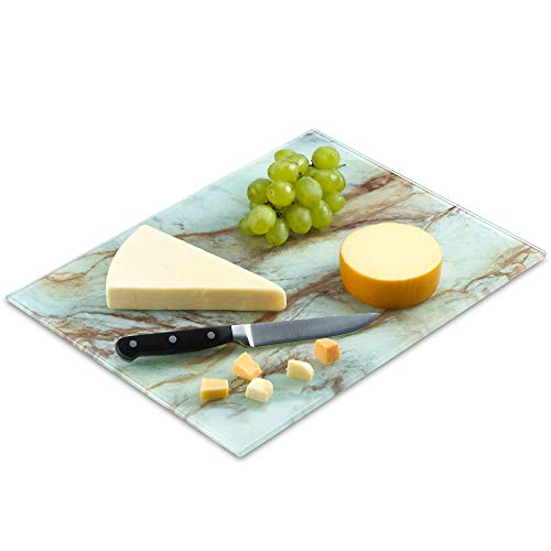 Tempered Glass Marble Pattern Cutting Board 16 x 20 Inch - Scratch, Heat, Shatter Resistant, Dishwasher Safe – Decorative Tray (White & Brown Marble)