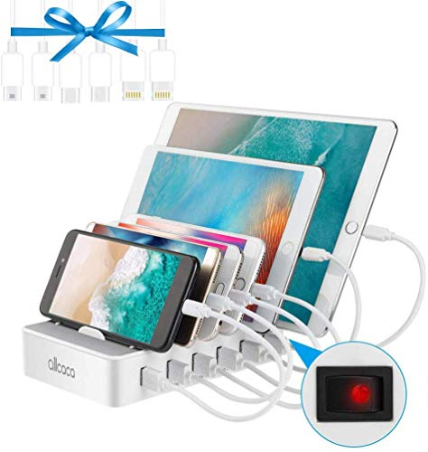 allcaca Charging Station 6 Ports for iPhone XS Max XR Ipad Tablet and All Android Devices, 6 USB Cable 25CM Included, White