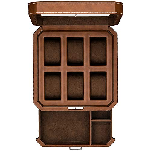 6 Slot Leather Watch Box with Valet Drawer - Luxury Watch Case Display Organizer, Microsuede Liner, Locking Mens Jewelry Watches Holder, Men's Storage Boxes Holder Large Glass Top (Tan/Brown)