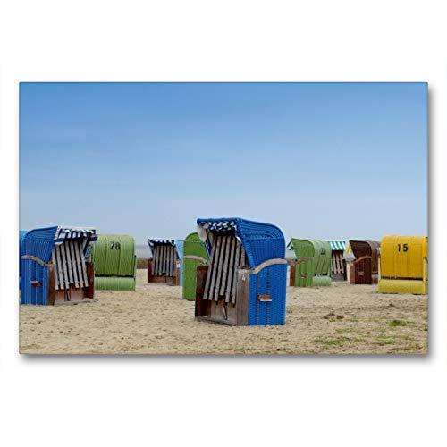 Premium Textil-Leinwand 90 x 60 cm Quer-Format Strandkörbe in Dangast | Wandbild, HD-Bild auf Keilrahmen, Fertigbild auf hochwertigem Vlies, Leinwanddruck von Christian Lindau