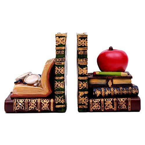 ZNZN Sujetalibros Sujetalibros con Forma de Libro Antiguo, Extremos de Libros de Biblioteca clásica, estantería de Resina,Tapones para Libros con Sujetalibros de Escritorio