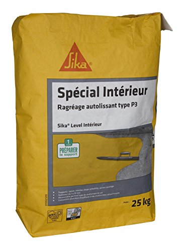 Sika - Level Intérieur - Mortero autonivelante para suelos interiores nuevos (P3)–25kg–color gris