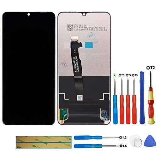 Swark - Pantalla LCD compatible con Huawei P30 Lite MAR-L01A, MAR-L21A, MAR-LX1A (negro + sin marco), pantalla táctil, digitalizador, cristal + herramientas