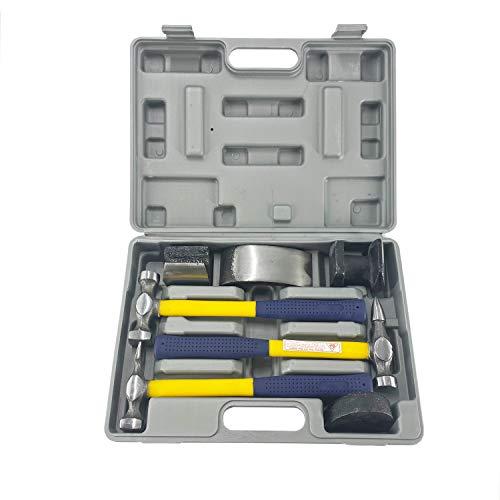 TEXALAN 7 PC Auto Body Fender Repair Tool Hammer & Dolly Set Dent Bender Fiberglass handle plastic case USA