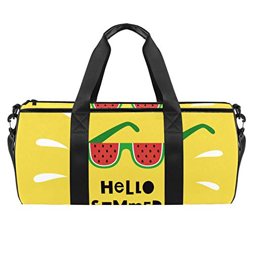HANDIYA Bolsa de lona de 45,72 cm para viajes, gimnasio, deportes, equipaje ligero, Hello Summer lindos vasos de sandía