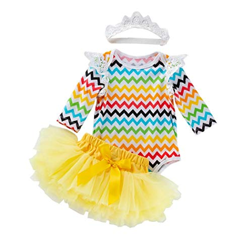 Baby-Wave-Printed Langarm Rüschen Outfits Kostüm Tutu Kleid mit Haarreif Kleidung Set 73cm 3Pcs Ostern Versorgung